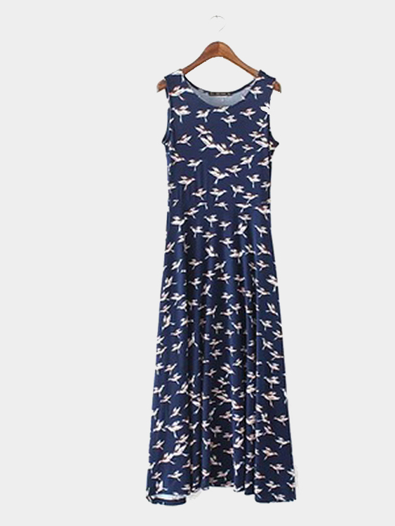 Ladies Style Maxi Dress With Bird Pattern All Over