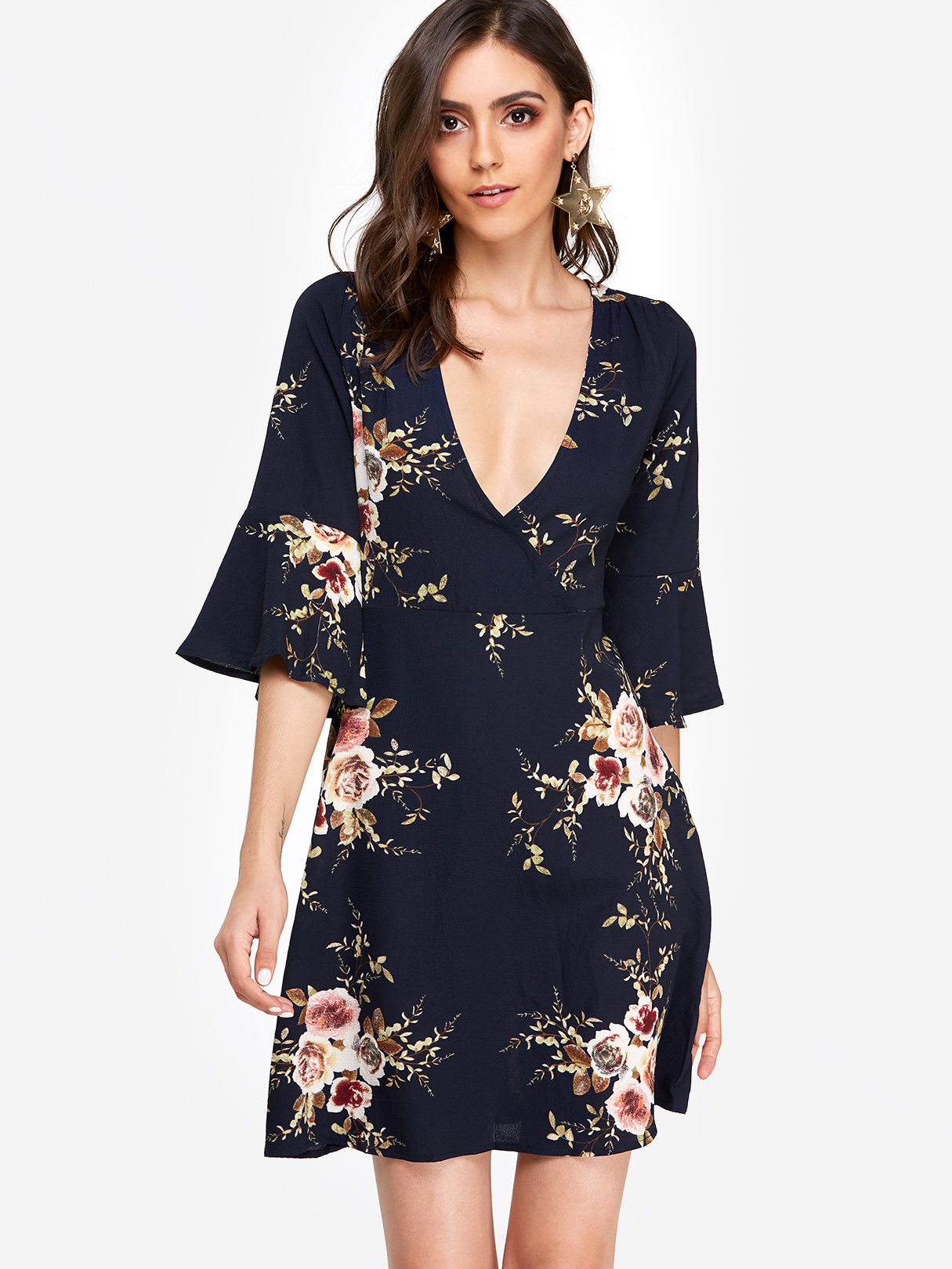 Navy Random Floral Print Crossed Collar Bell Sleeves Dress with Zip Design