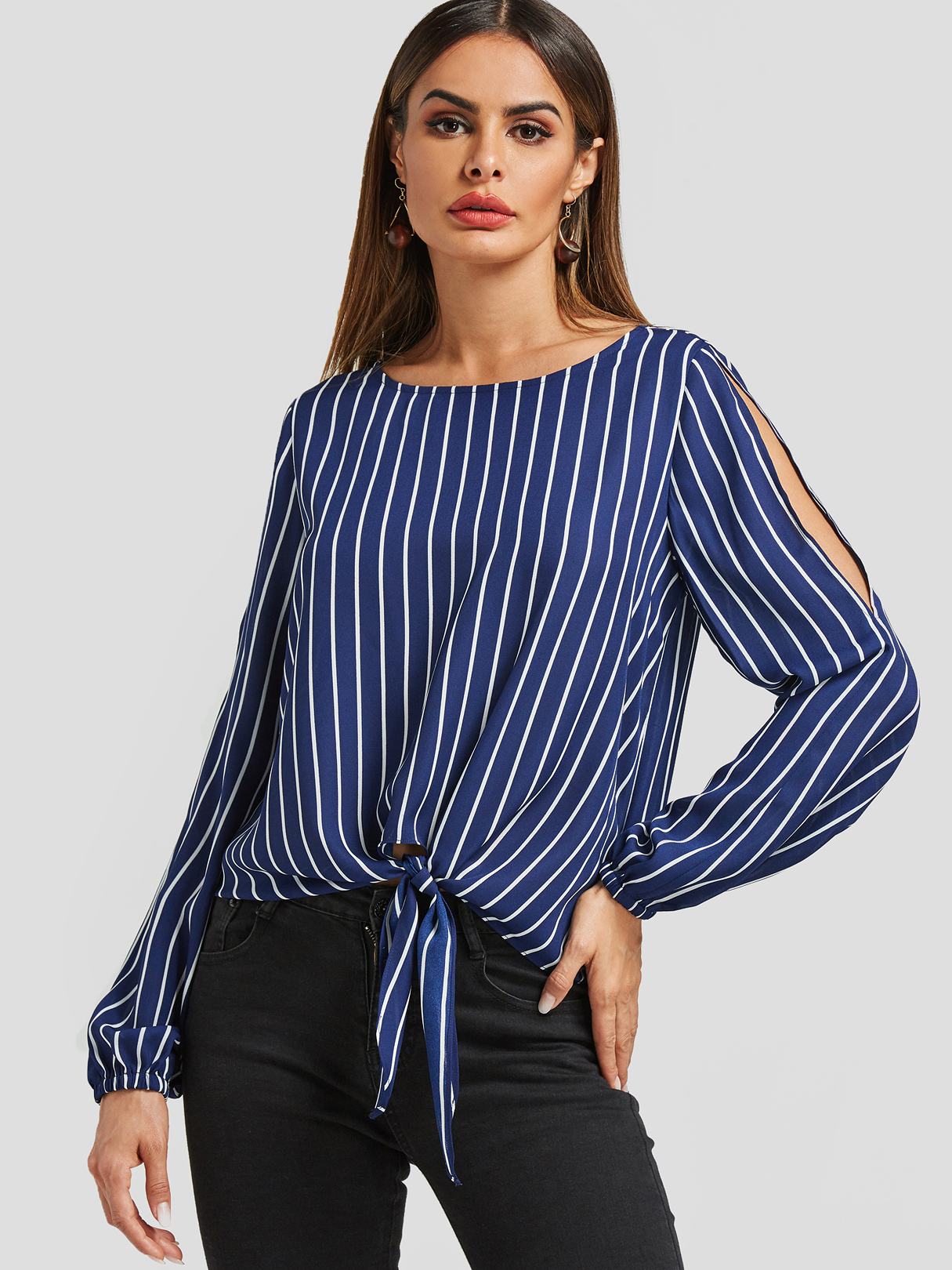 Navy Stripe Tie-up Hem Blouse