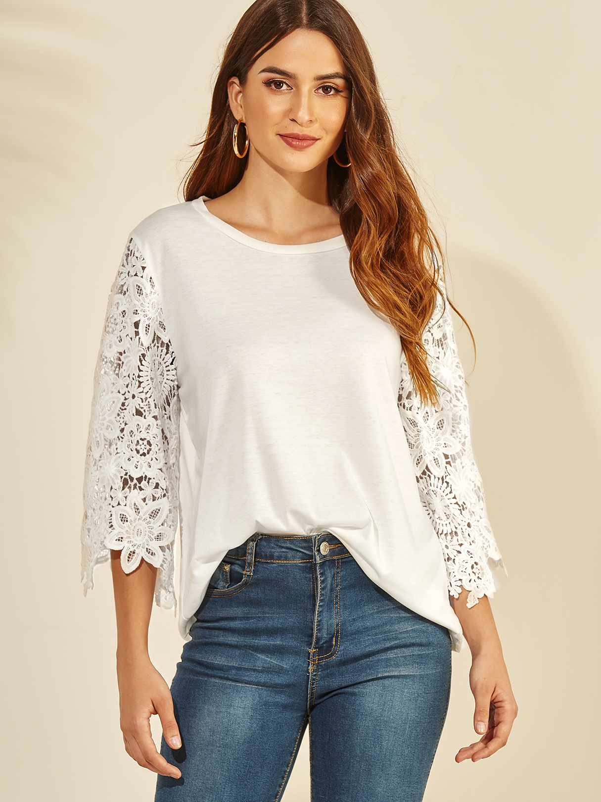 White Lace Insert Round Neck 3/4 Length Sleeves Blouse TOPS Blanc Blouses s|m|l|xl Yoins
