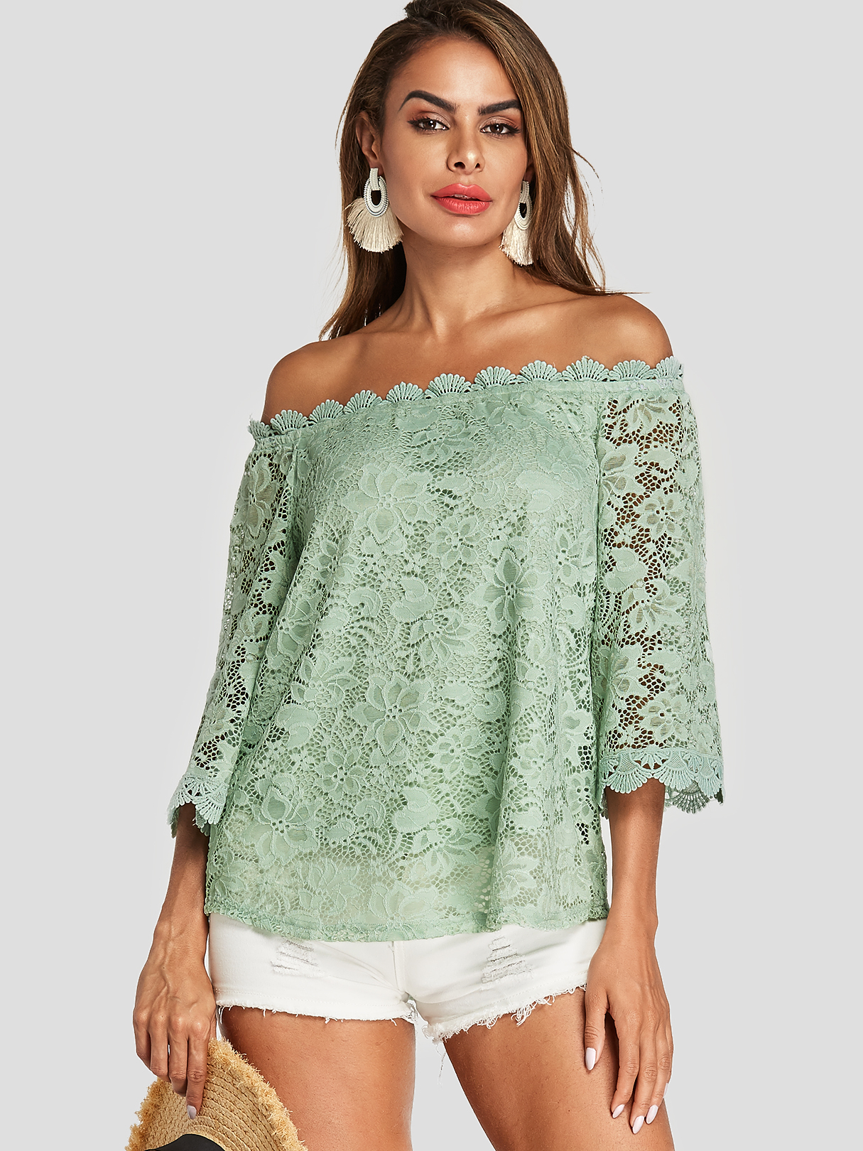 Green Lace Off The Shoulder Long Sleeves Blouse