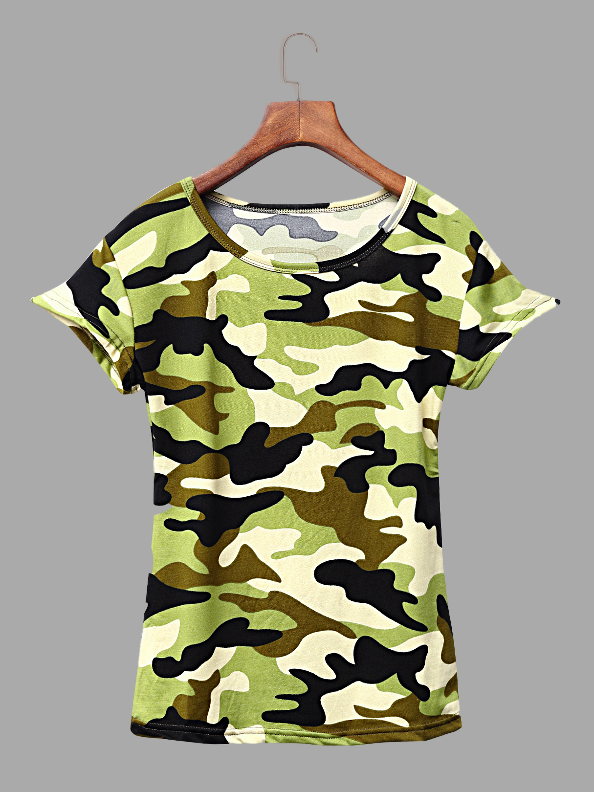 Casual Short Sleeves Camo Print Tees in Light Green