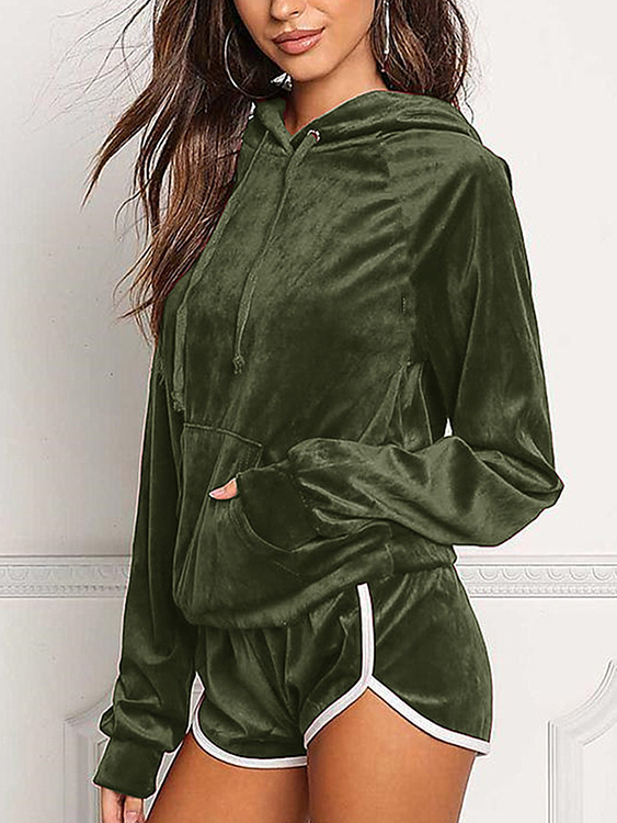 Active Hooded Design Elastic Tracksuit in Amry Green