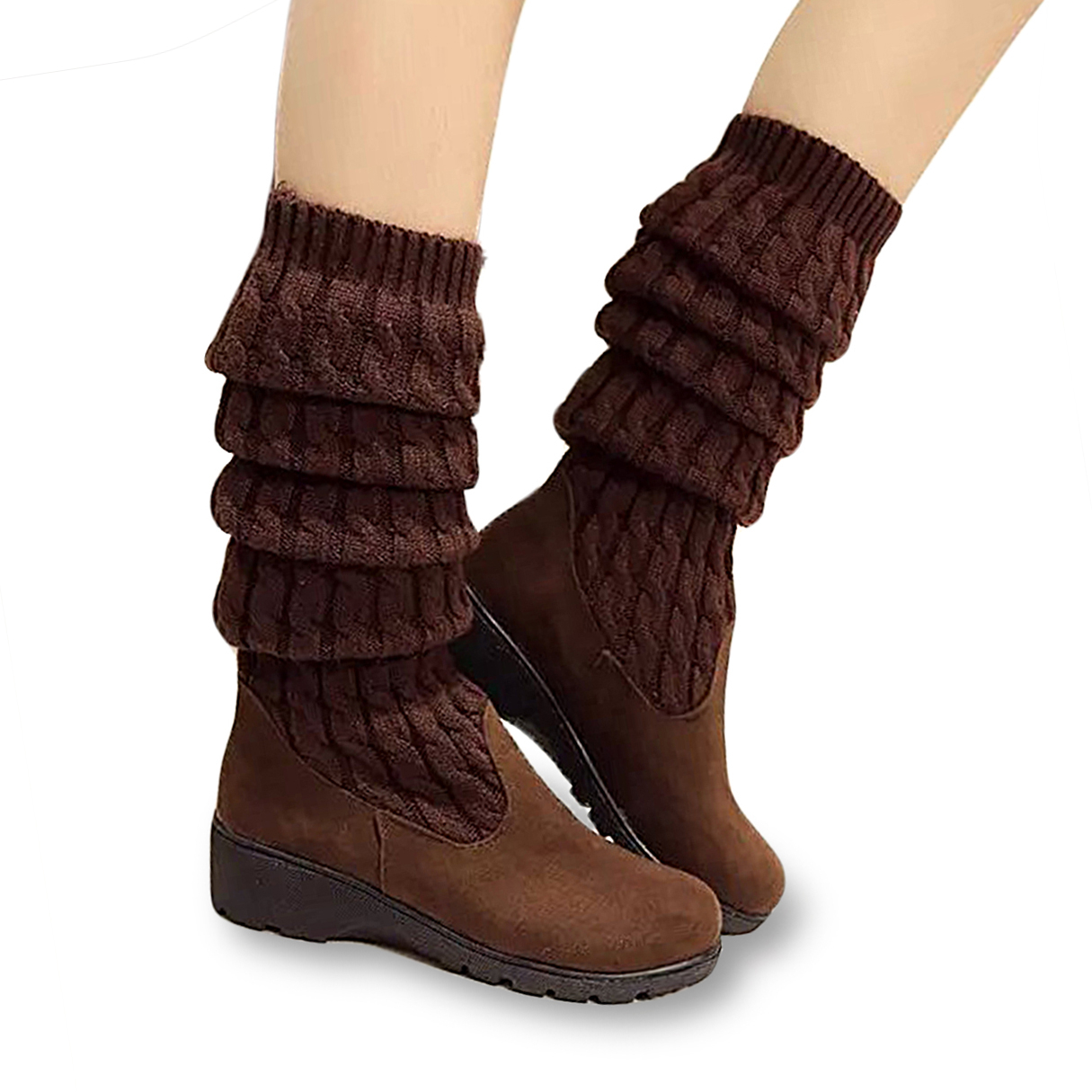 Brown Stretch Sock Boots