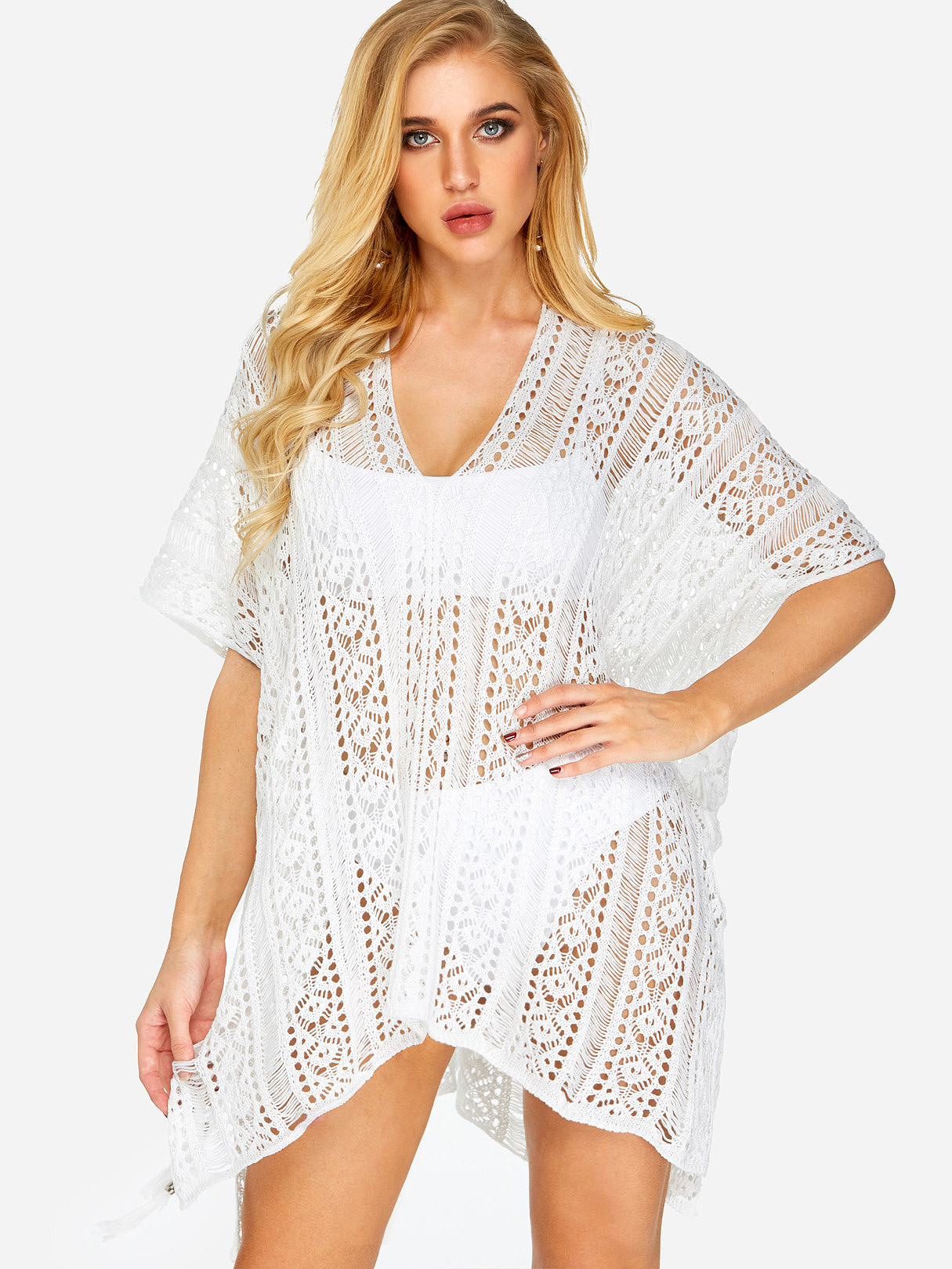Delicate Crochet Hollow Overlay Design Top in White TOPS  maillots de bain lc_one_size Yoins