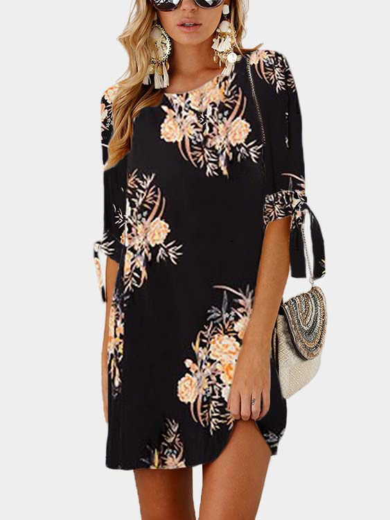 Black Random Floral Print Self-tie at Sleeves Mini Dress