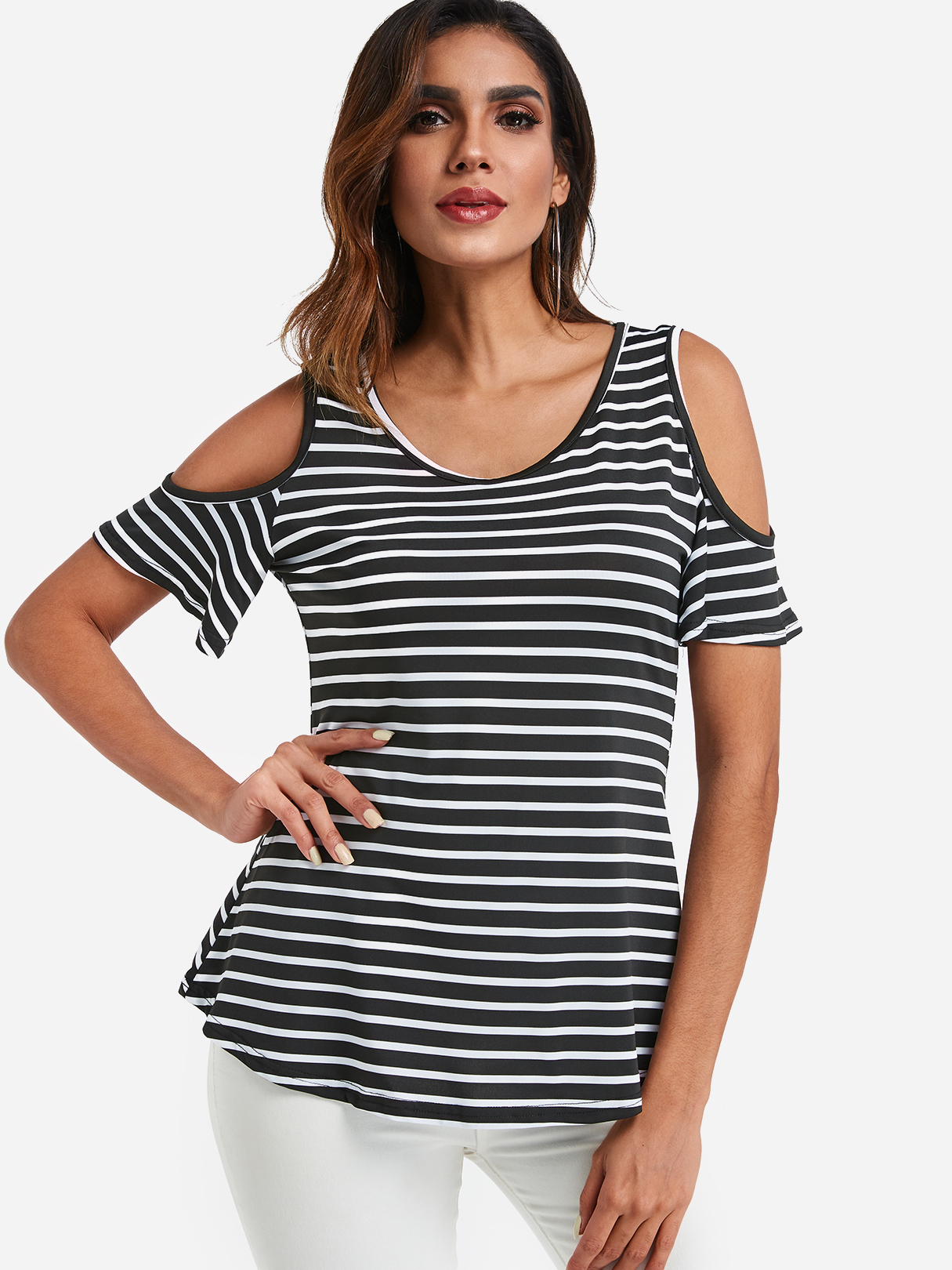 Stripe Cold Shoulder Half Sleeves Casual Top, Multi