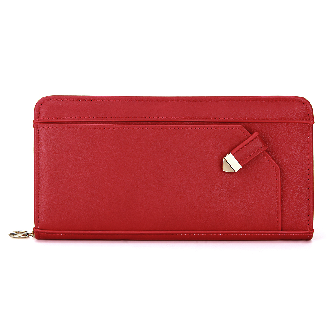 Slanted Arrow Leather-look Long Purse in Red
