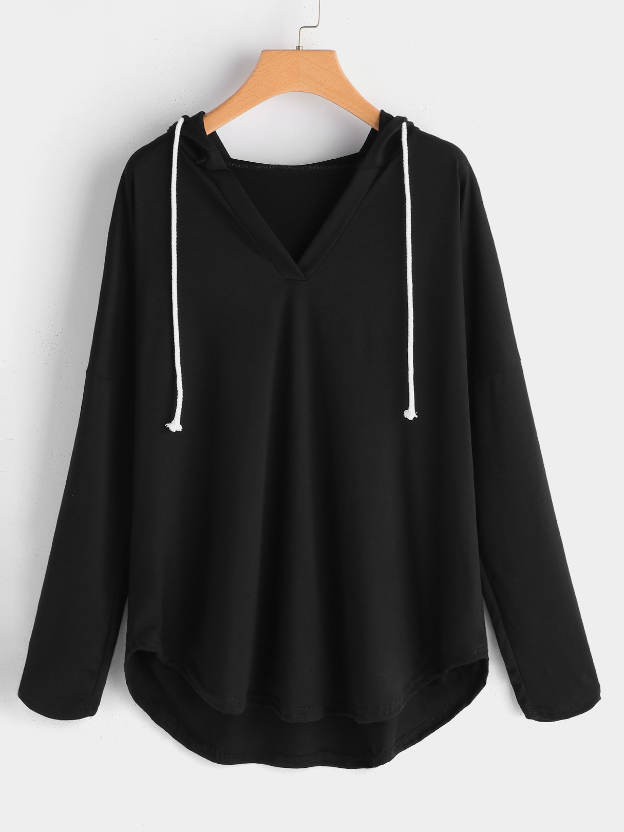 Plus Size Black High-low Hem Hoodie Sweatshirt
