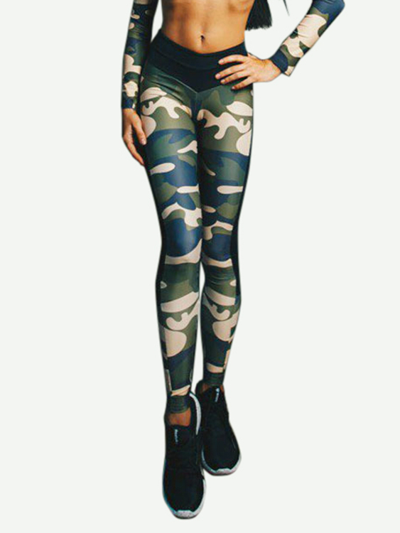Active Camo Print Stitching Design High Waisted Leggings