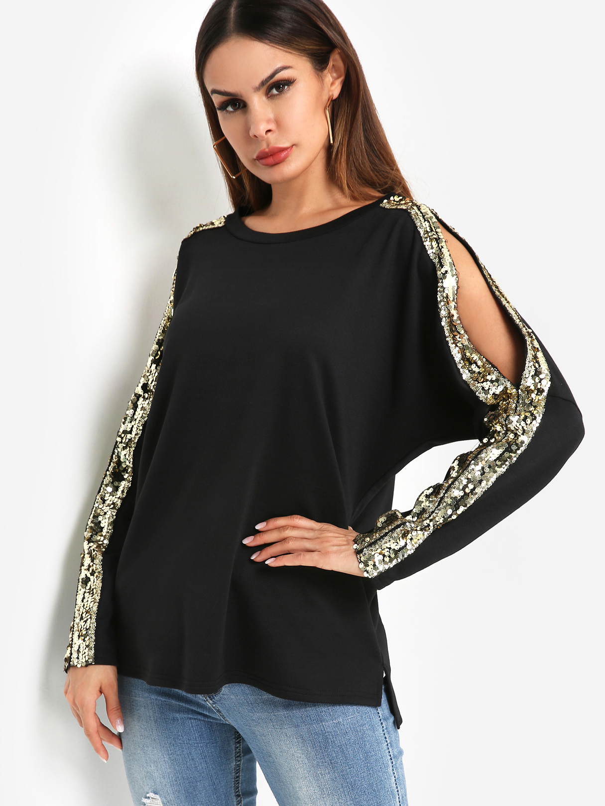 Black Round Neck Long Sleeved with Cutout Gloss Sequins Top