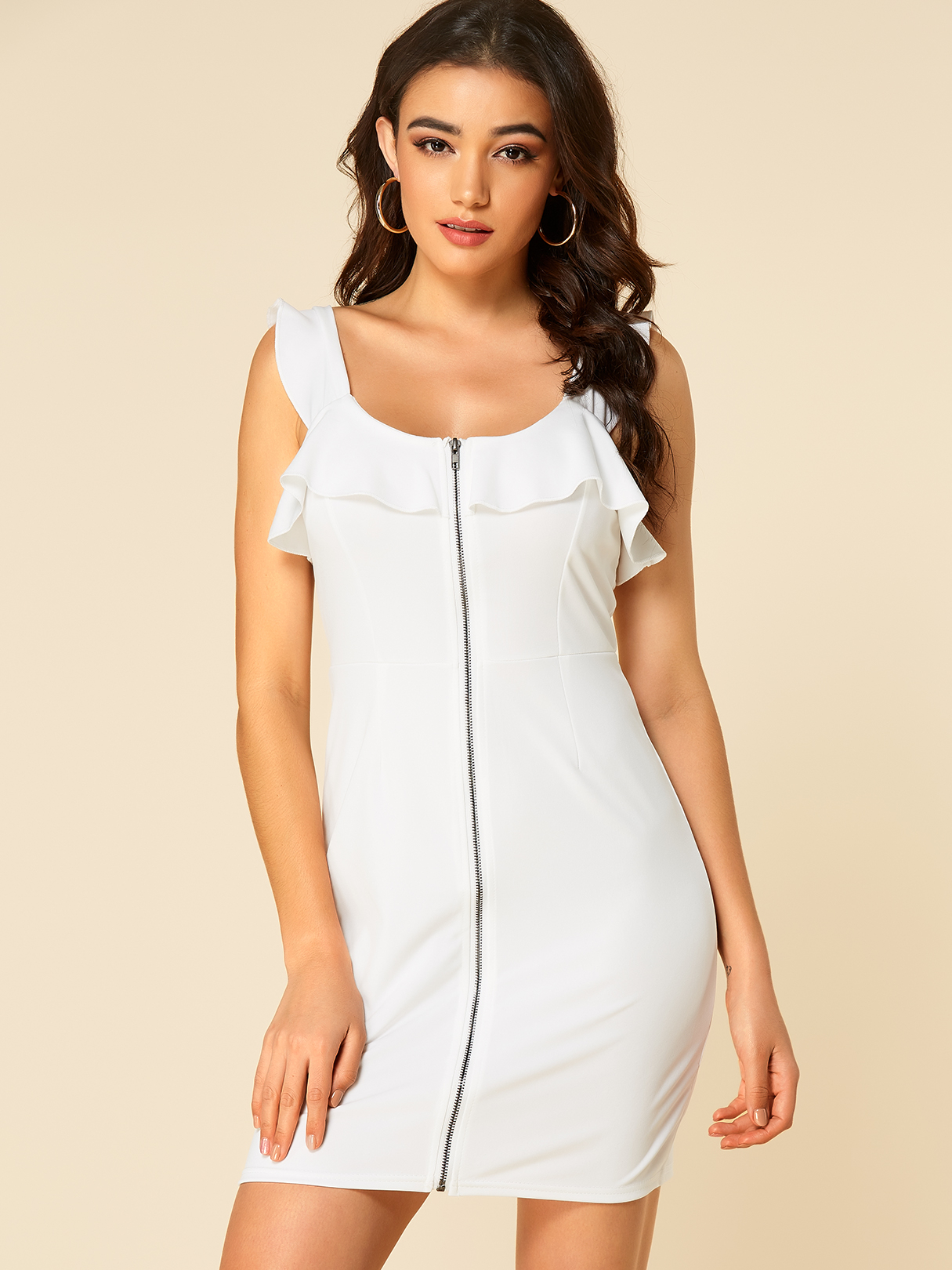 White Zip Front Flounce Details Bodycon Dress
