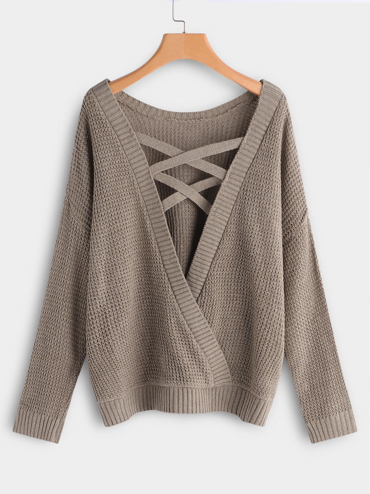 Plus Size Coffee Criss-cross Backless Design Knit Sweater