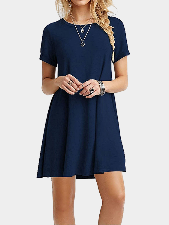 Navy Round neck Mini Dress