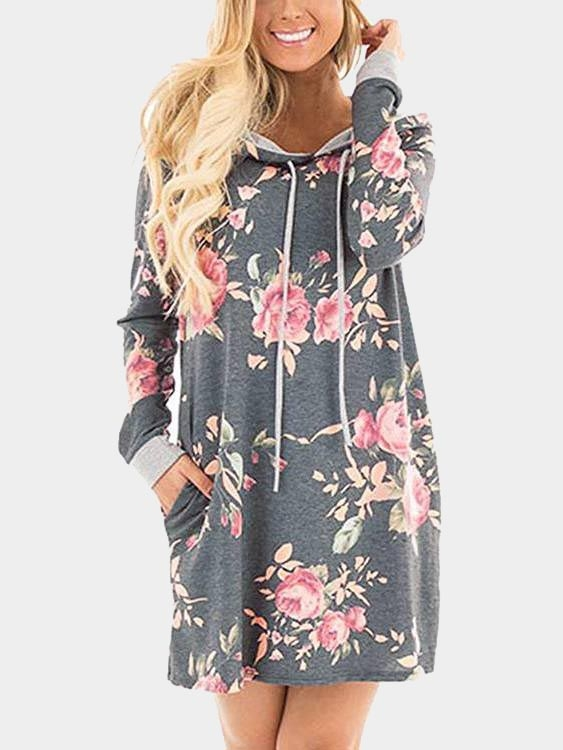 Grey Random Floral Print Hoodie Long Sleeves Mini Dress