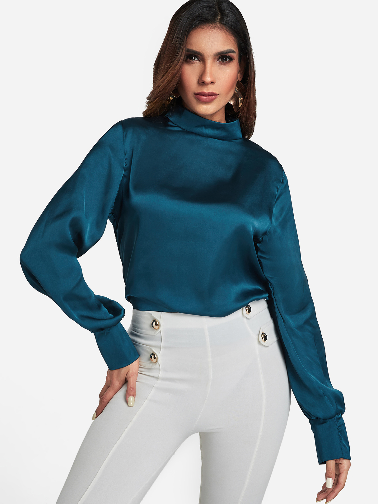 Dark Cyan Mock Neck Puff Sleeve Blouse, Multi