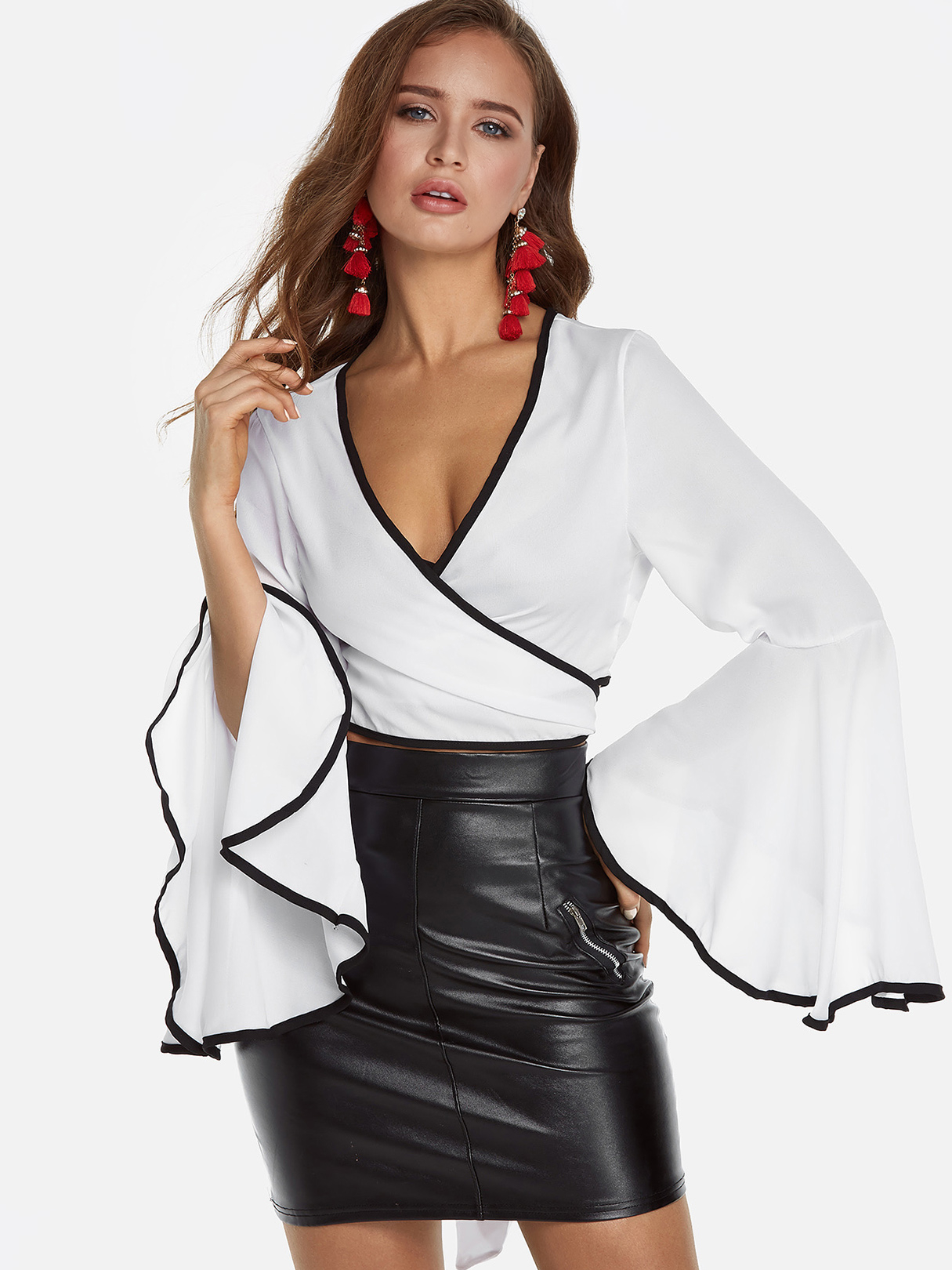 White Self-tie Cross Front Long Flare Sleeves Crop Top