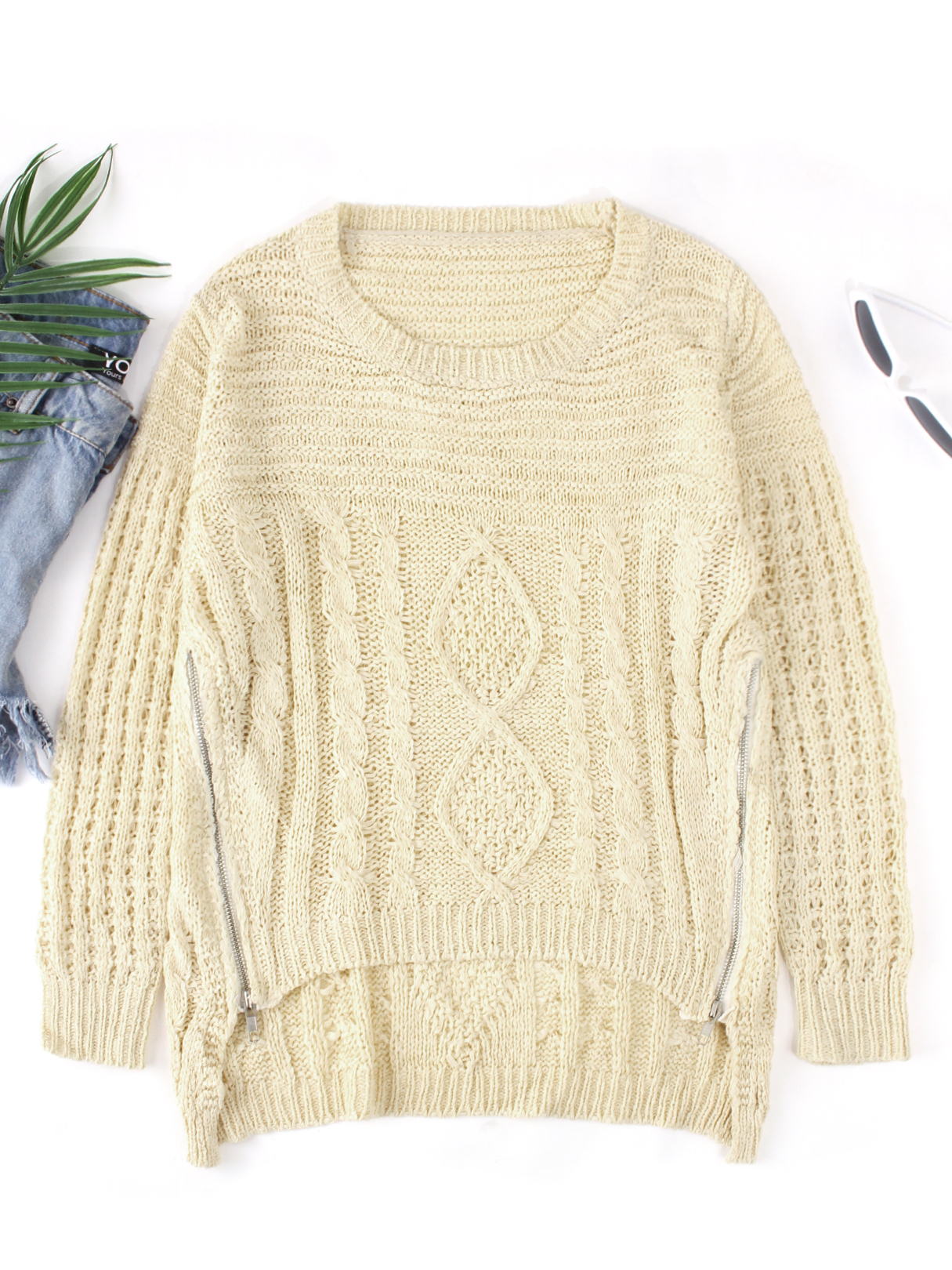 Pull à manches longues col rond design beige TOPS Beige Pulls lc_one_size Yoins