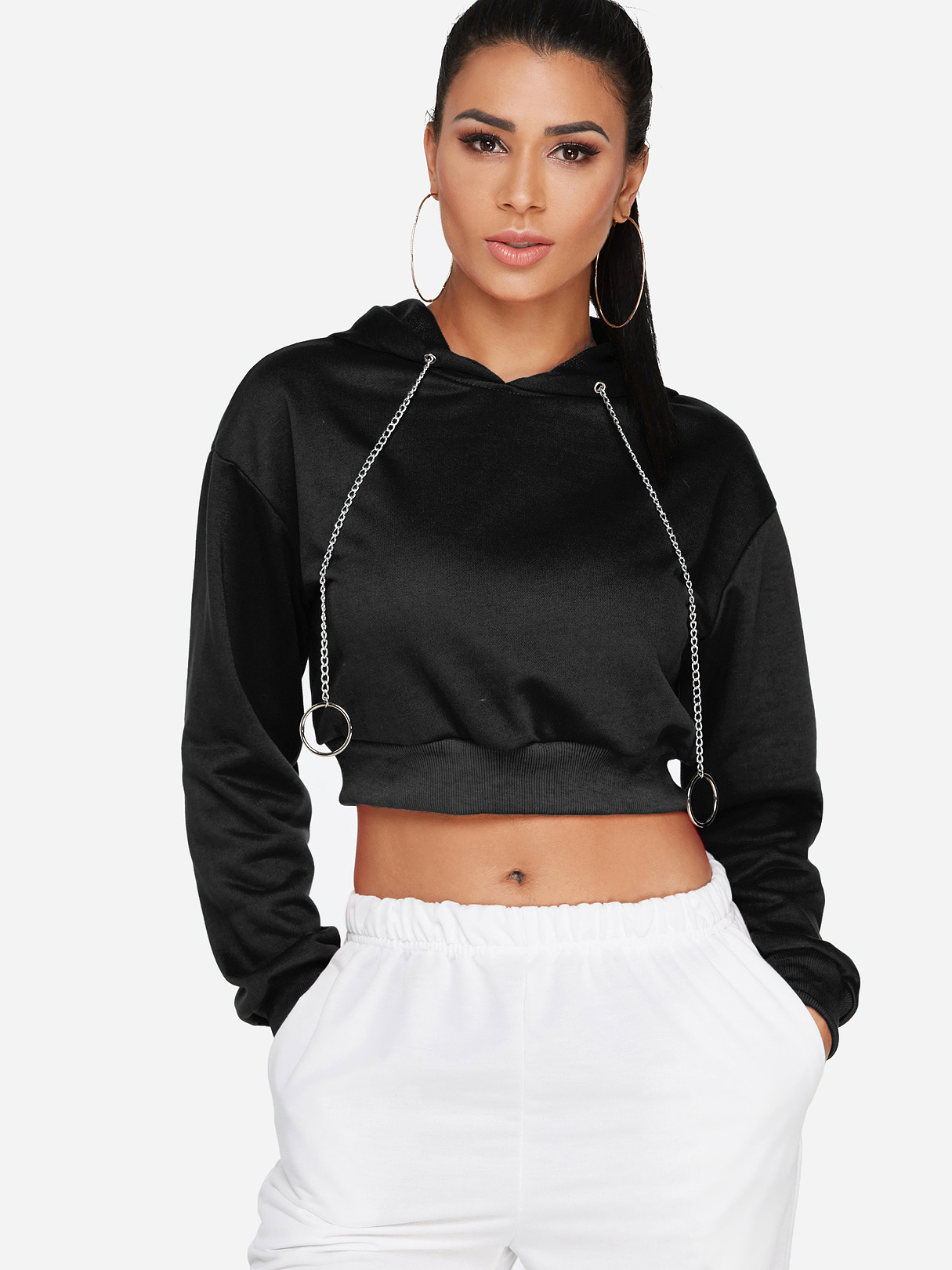 Black Round Neck Long Sleeves Hoodie