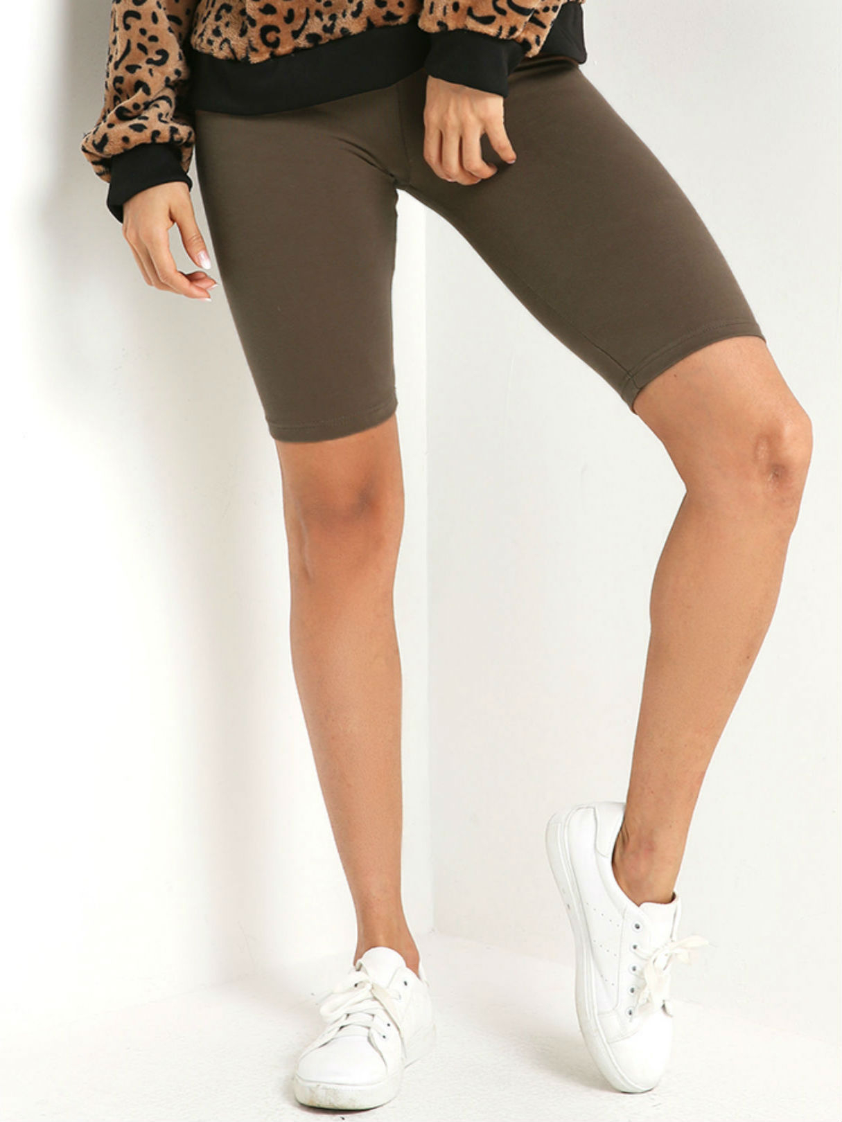 Coffee Mid Thigh Bodycon Short Yoga Leggings