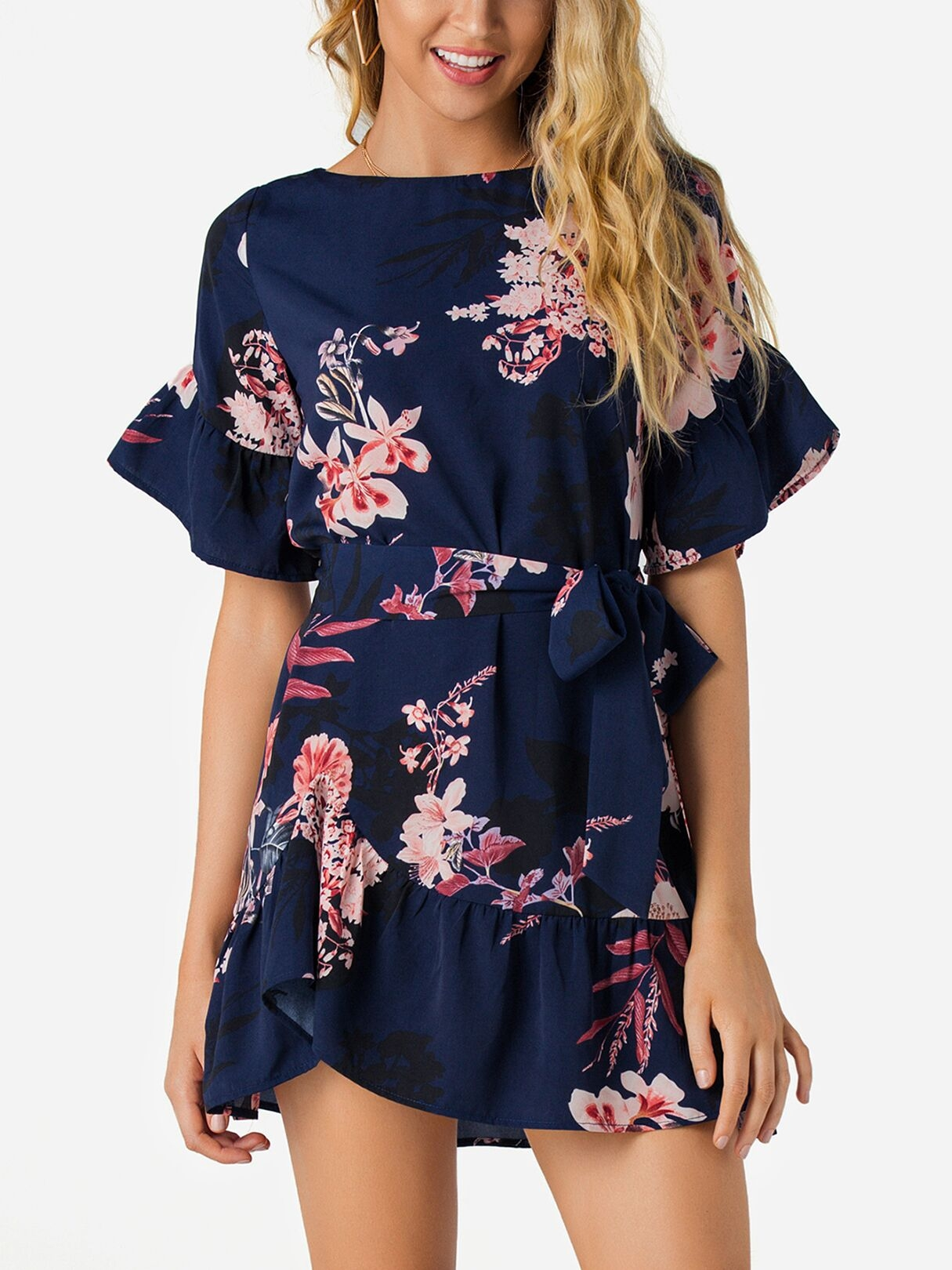 Image of Navy Random Floral Mini Dress With Half Flared Sleeves