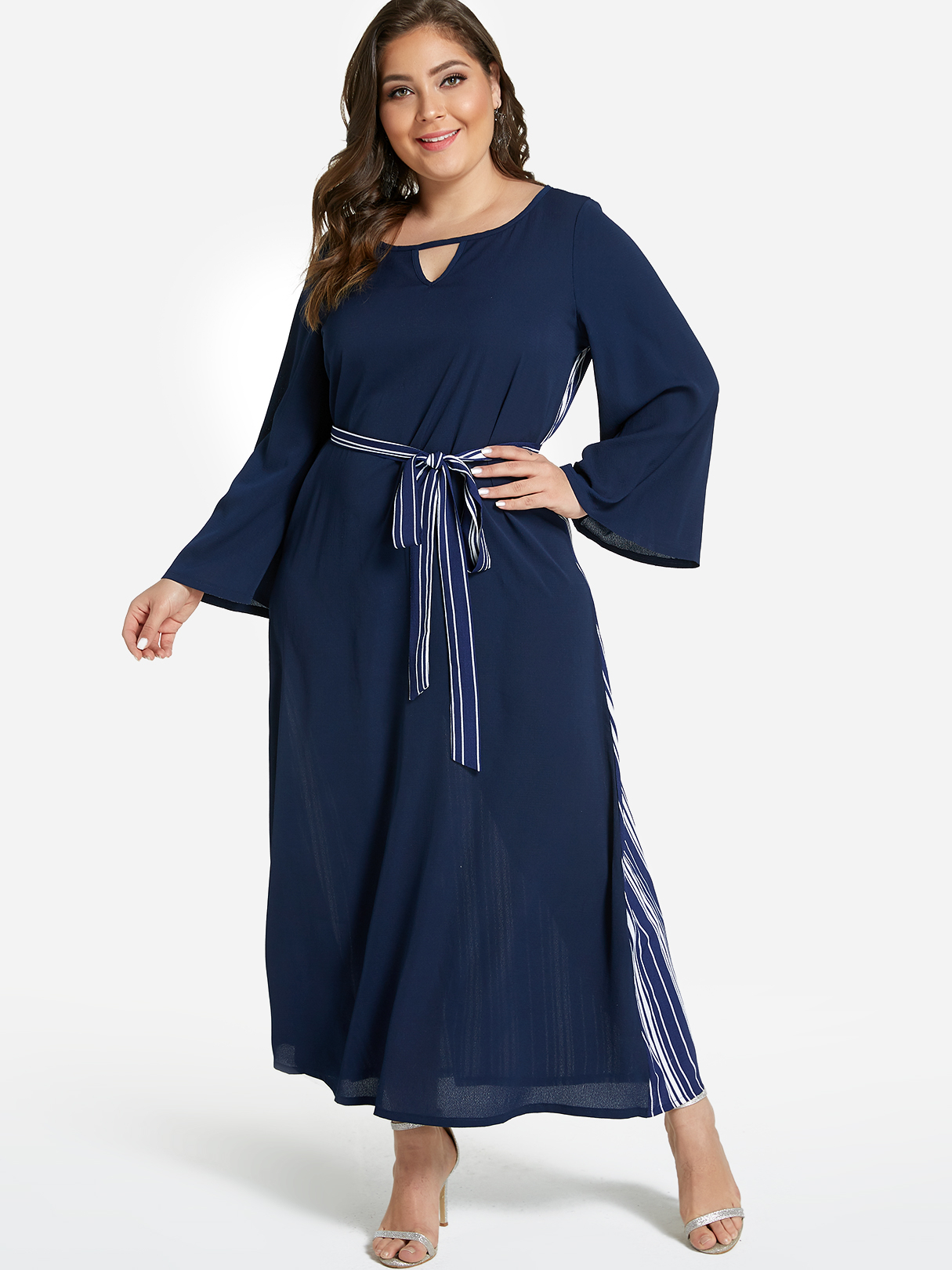 Plus Size Navy Stripe Pattern Back Maxi Dress