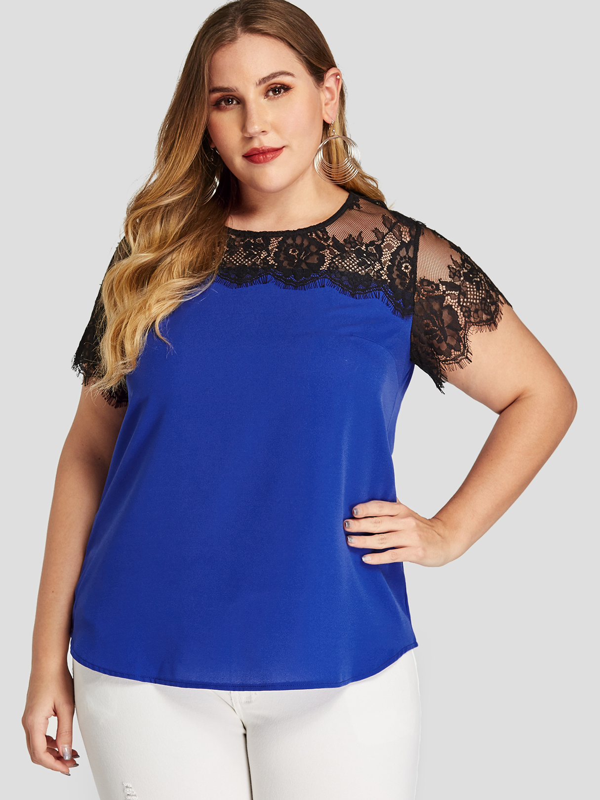 Plus Size Blue Lace Round Neck Short Sleeves Tee