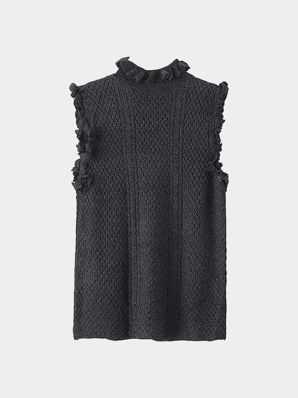Black High Neck Sleeveless Top with Frill Detail