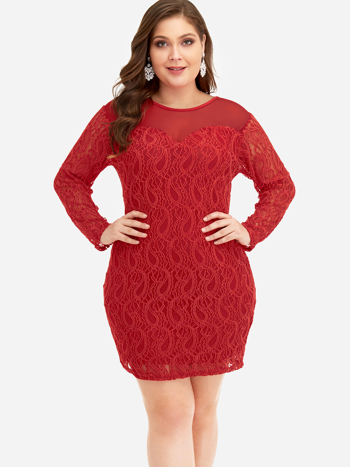 Plus Size Red Lace Embroidered Dress