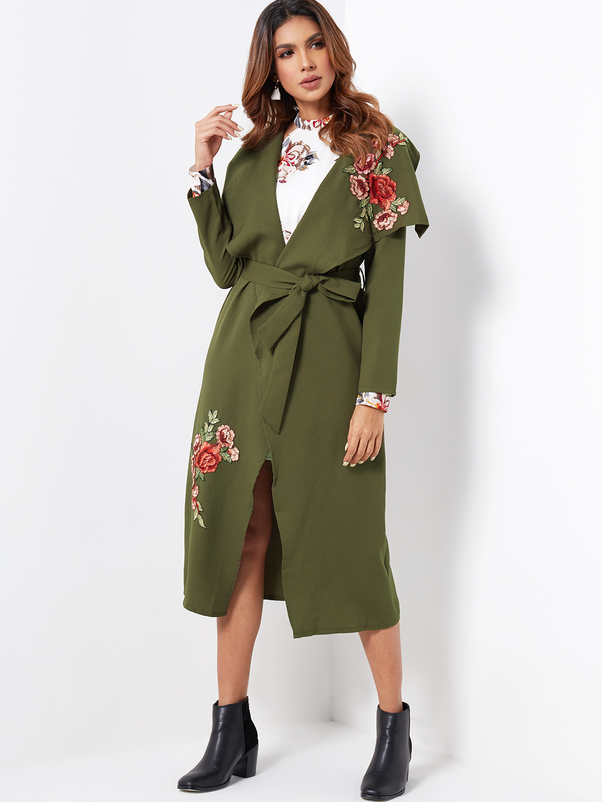 6282923d2d1 Green Embroidered Lapel Collar Long Sleeves Trench Coat With Belt ...