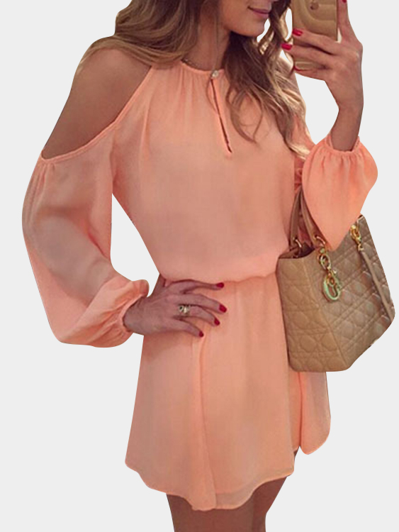 Pink Cold Shoulder Long Sleeves Cotton Dress with Open Back Design