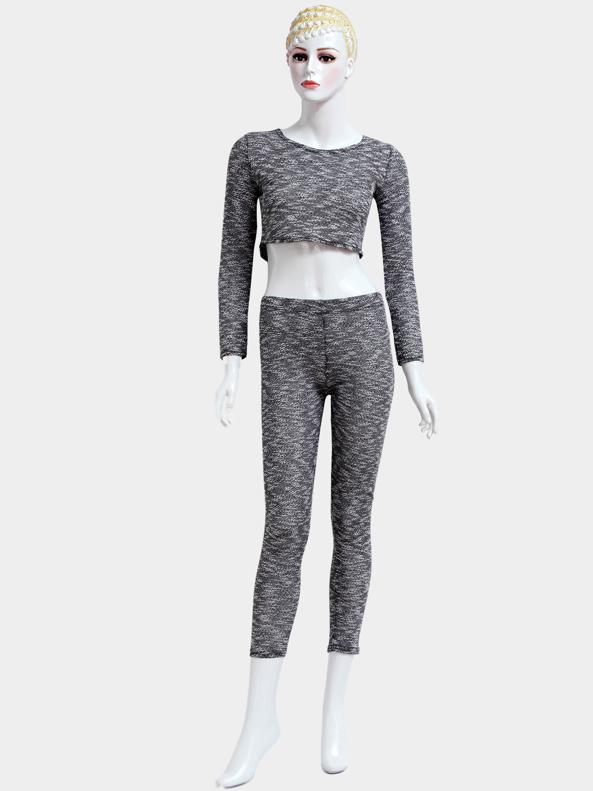 Grey Round Neck Long Sleeves High-waisted Suits