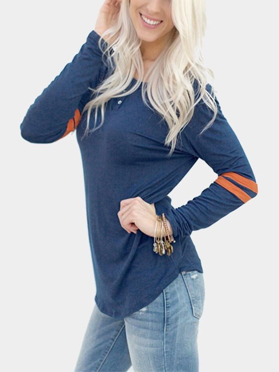 Navy and Orange Round Neck Loose T-shirt with Button Design