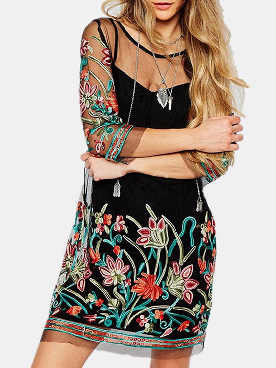 Random Floral Embroidered 3/4 Length Sleeves Mesh Dress