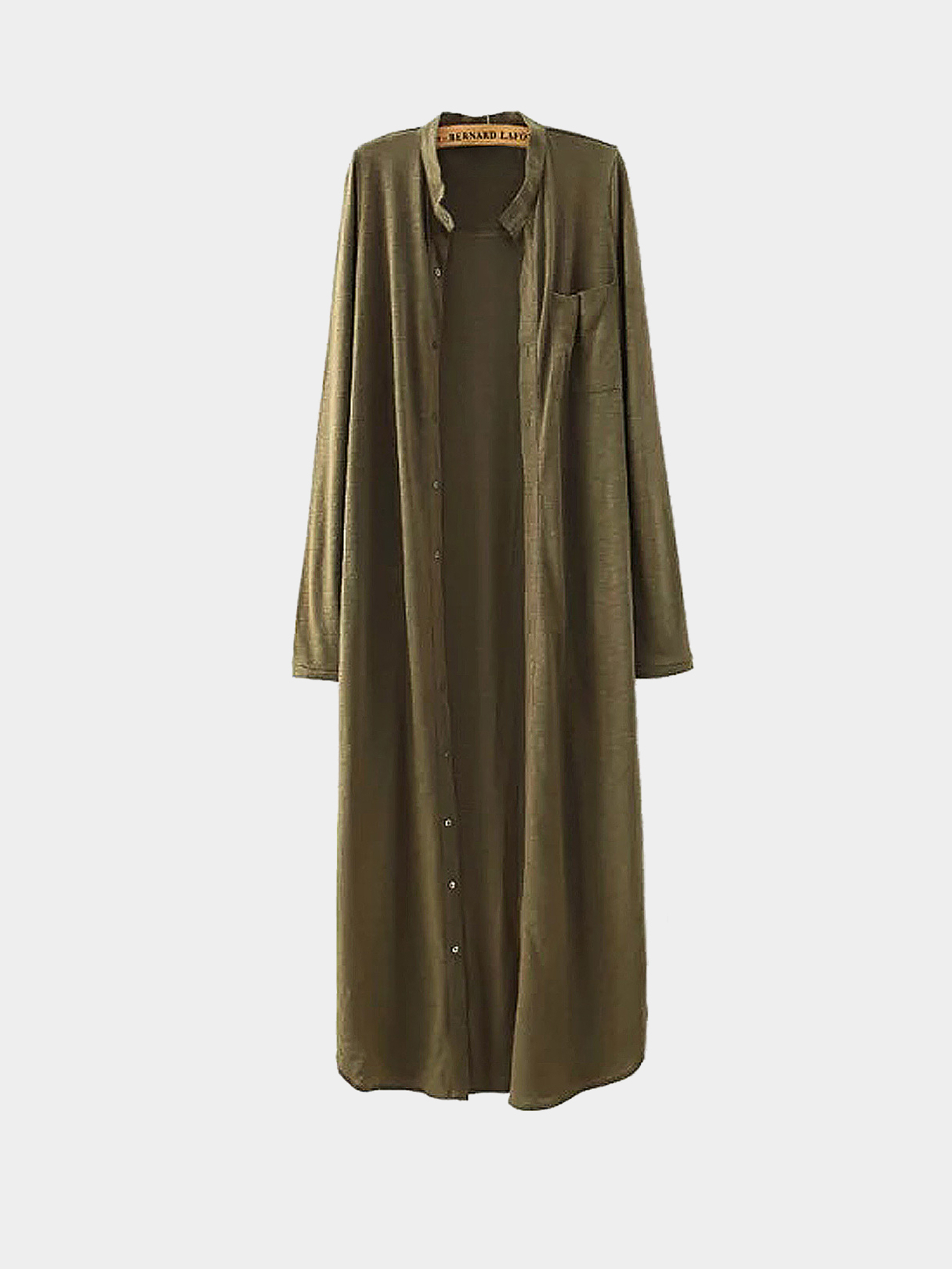 Army Green Button Up Side Split Longline Shirt Dress