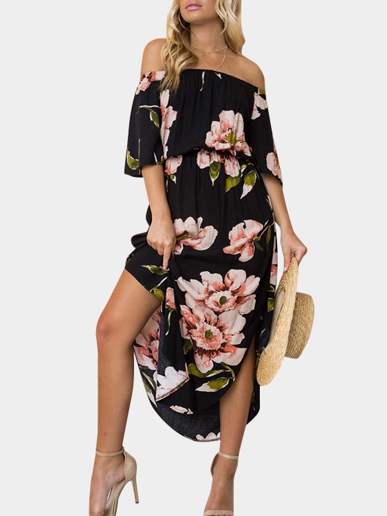 Black Random Floral Print Off The Shoulder Half Sleeves Dress, Multi