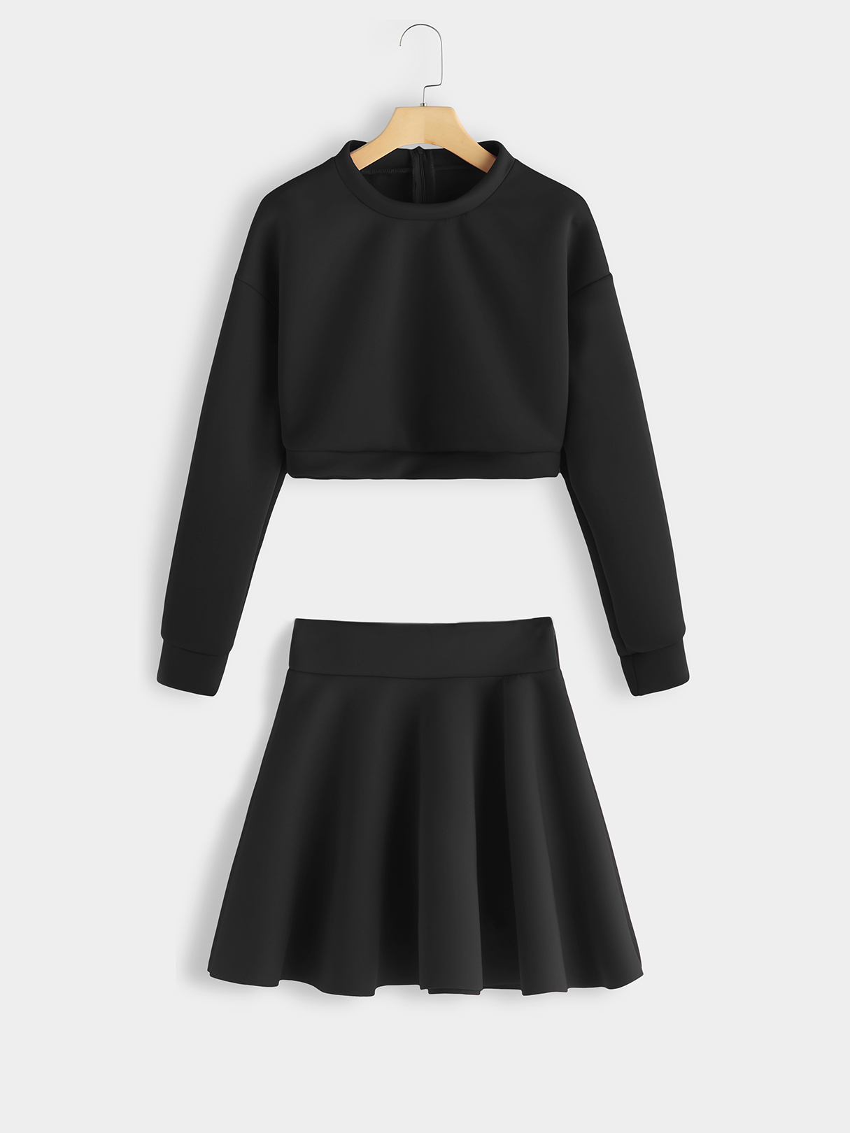 Black Round Neck Top & Ruffle Hem Skirt Co-ord