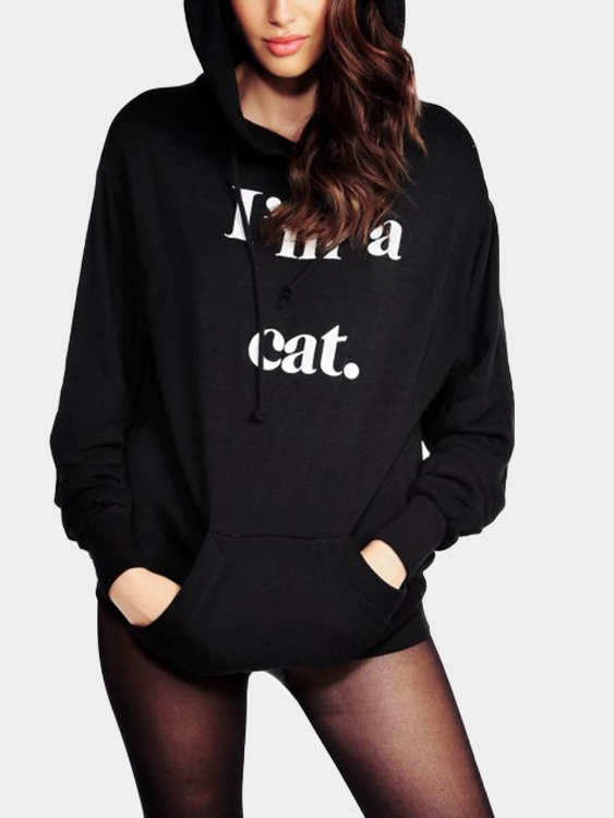 Black Letter Front Patch Pocket Long Sleeves Hoodie