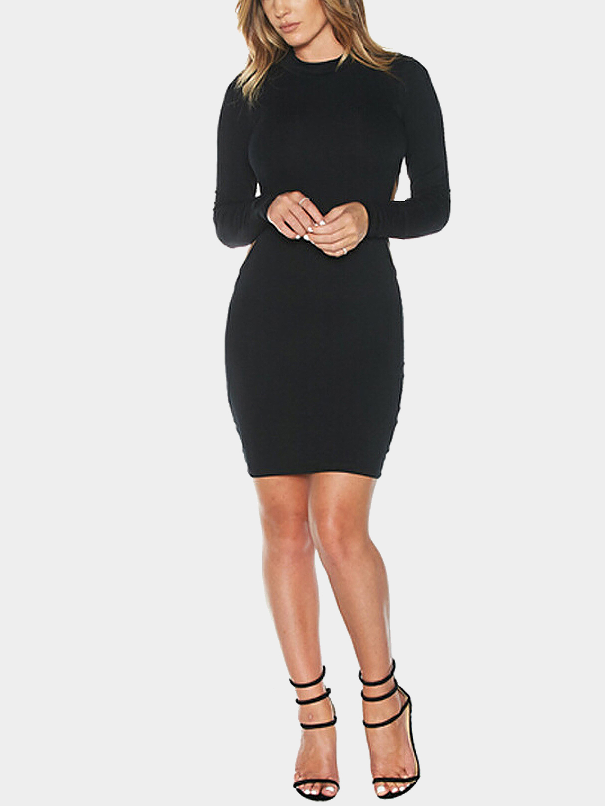 Black Backless Midi Dress with Long Sleeves
