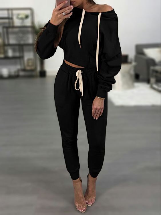 Black Hooded Drawstring Sweatshirt Two Piece Outfits