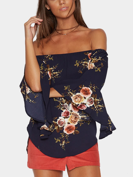 Navy Random Floral Print Off Shoulder Blouse