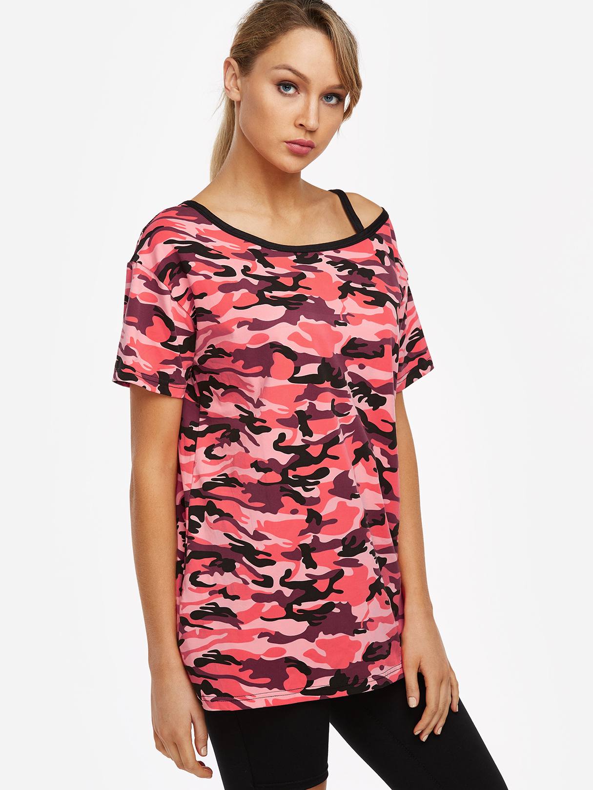Red Camouflage Asymmetrical One Shoulder Short Sleeves T-shirt