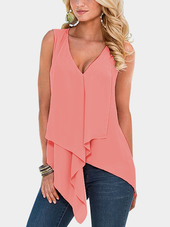 Orange Tiered Design V-neck Sleeveless Tank Top