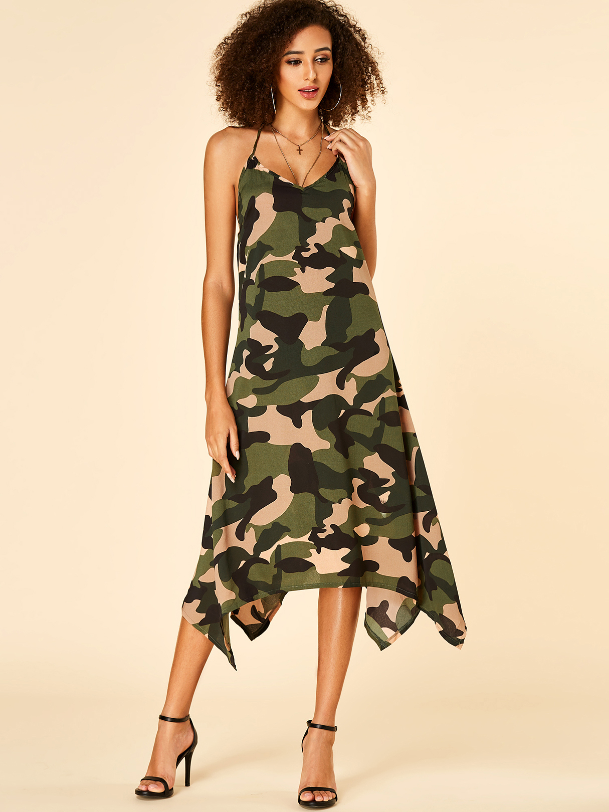 Camo Backless Design Halter Sleeveless Dress