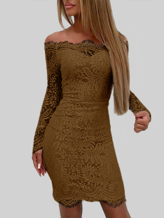 Coffee Lace Off The Shoulder Long Sleeves Bodycon Dress