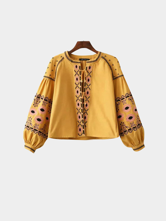Boho Yellow Drop Shoulder Sleeves Lace-up Details Jacket