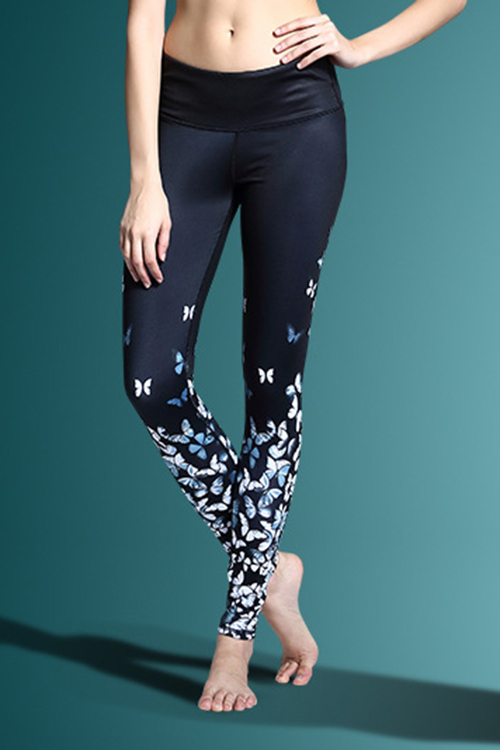 Active Random Floral Print Quick Drying Elastic Waist Sports Leggings in White