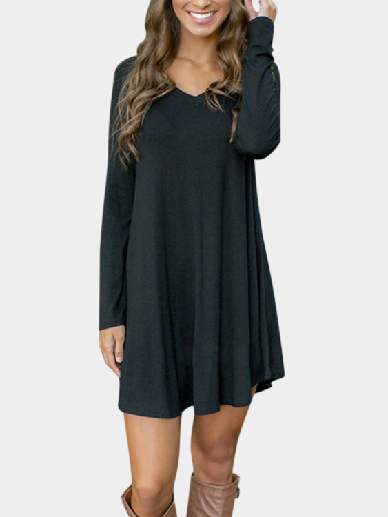 Black Simple V-neck Mini Dress