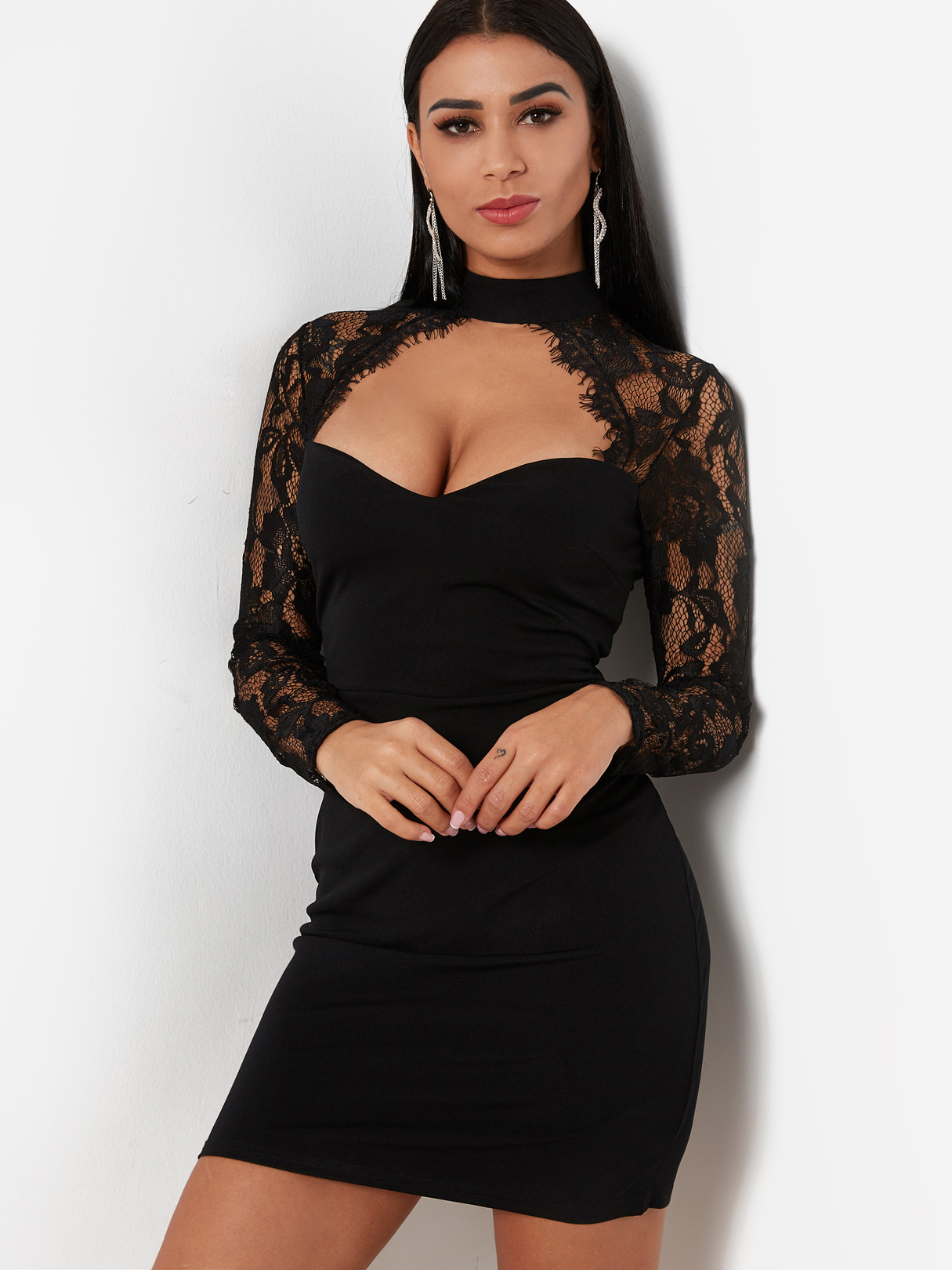 Black Sexy Crew Neck Lace Insert Mini Dress With Cut Out Detail