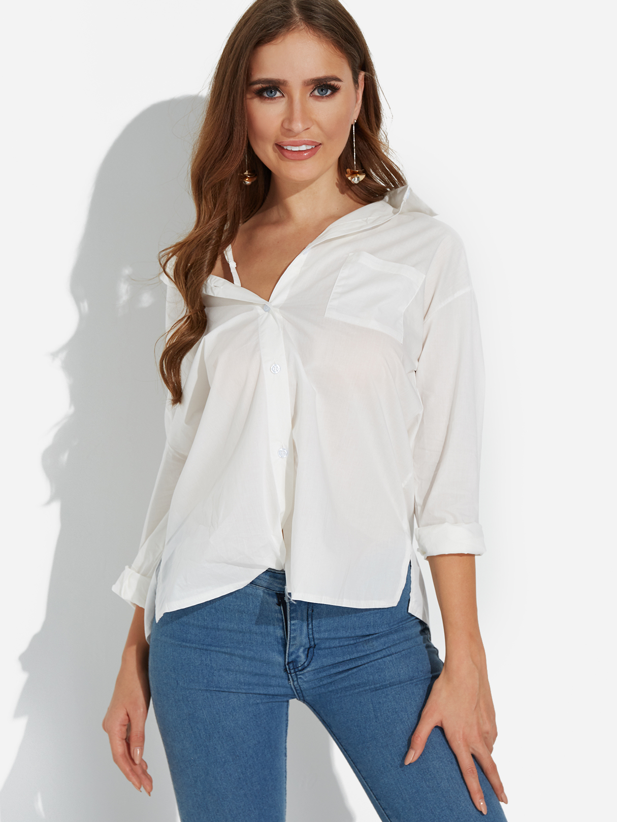 White Adjustable Shoulder Straps V-neck Long Sleeves Shirt